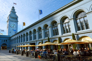 SAN FRANCISCO - MAY 21 2015:People dining in restaurant in San Francisco Ferry Building.It's terminal of San Francisco Bay ferries and food hall located on The Embarcadero in San Francisco, California