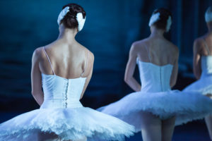 Ballet swan lake. statement. Ballerinas in the movement.