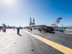 SAN DIEGO, USA - SEPTEMBER 19: Visitors on the USS Midway on September 19, 2015 in California, United States. It is now a museum docked in Downtown San Diego.