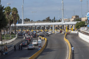 TIJUANA, MEXICO - NOVEMBER 13, 2014: The auto lanes at the Tijuana border crossing surprisingly have extremely short lines on this particular morning
