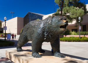 LOS ANGELES, CA/USA - OCTOBER 4, 2014: The Bruin Bear Statue at UCLA on the campus of UCLA. UCLA is a public research university located in the Westwood neighborhood of Los Angeles, California, United States.