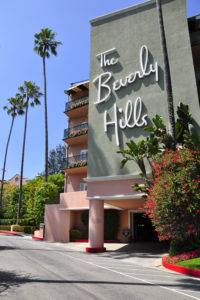 Image of the entrance of the Beverly Hills Hotel, California, USA