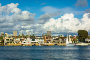 View of Balboa Island, and buildings in Irvine, from Newport Bea