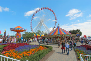 Carousel, ferris wheel and other rides at Navy Pier, Chicago;
