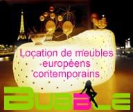 Bubble propose des meubles contemporains a la location, pour tous vos evenements en interieur et en exterieur