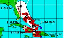 carte nhc ouragan