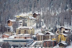 ST. MORITZ, SWITZERLAND - MARCH 06, 2009: View to the buildings of St. Moritz, Switzerland. St.Moritz is the famous ski resort in Switzerland.