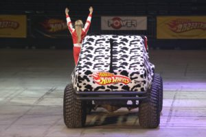 ISTANBUL, TURKEY - FEBRUARY 01, 2015: Turkish Rally Female Drivers Winner Simin Bicakcioglu drives a monster truck in Sinan Erdem Dome during Monster Hot Wheels stunt show.