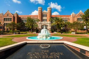 Tallahassee, FL USA - October 10, 2010: The beautiful red brick administration building of the Florida State University.