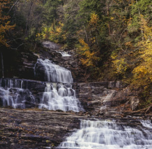 Kent Falls State Park waterfall in autumn