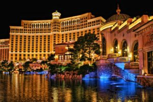 Looking across the lake at the Bellagio Casino and Hotel in Las Vegas, Nevada.