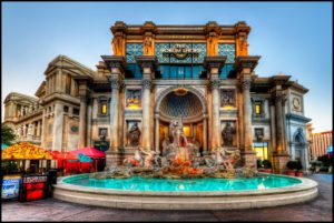Another view of Caesar's Palace in Las Vegas just after sunrise. The lights were still on, but already clear enough to see all the details. ISO 100, 10mm, f9, (1/2, 1/8. 2.0) sec. I had to work hard to correct the perspective distortion. I think the fountain is still a bit slanted. While doing this, I had to clone the bottom of the image to fill in the blank space left over after the perspective correction. Only after I was almost done with the whole image did I notice the small cloning error. It as also difficult to deal with the sky because the Photomoatix settings I liked for the building created a horrible halo on the sky. Nik Viveza worked relatively well to fix it: I placed a control point high up in the sky and increased the brightness a lot. Did that with several control points along the top.
