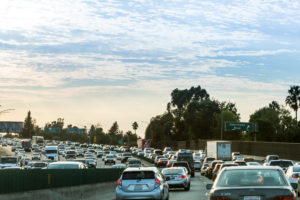 VENTURA FREEWAY, SHERMAN OAKS - SEPTEMBER 11: Views of the traffic on the Ventura Freeway at sunset on September 11, 2015. The Ventura Freeway is a part of the Route 101, the longest in California.